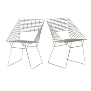 Fritz Hansen Chrome Wire Chairs  by Verner Panton Bryce Hudson Collection