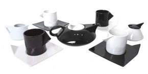 Post Modern Tea Set - Memphis Milano Inspired: Tea Pot, Sugar, Creamer, four Cups and Saucers