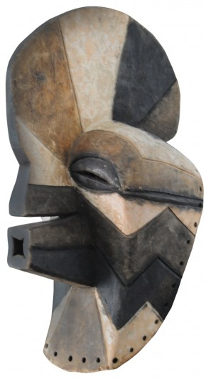 A photograph of a Songye Kifwebe Mask from The Democratic Republic of Congo, Africa