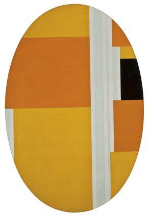 A photo of Ilya Bolotowsky Painting Large Yellow Ellipse
